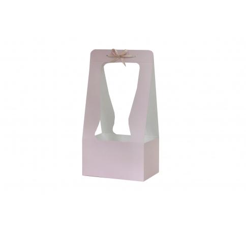 Сумка картонная 34*18*12 см, пудрово-розовая