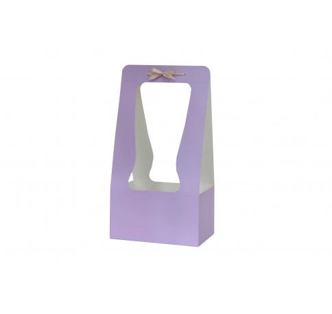 Сумка картонная 34*18*12 см, сиреневая