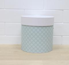 Коробка для цветов цилиндр,мятно-голубая в цветочек, d-150, h-150
