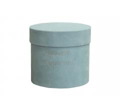 Коробка бархатная, d-110, h-120 мм, голубая с серебристым тиснением