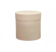 Коробка для цветов цилиндр,грязно-розовая в сердечки, d-150, h-150