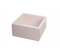 Коробка 230*230*100 мм с прозрачной крышкой, розовое дно