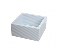 Коробка 230*230*100 мм с прозрачной крышкой, голубая полоска