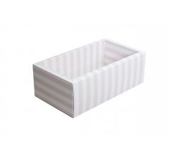 Коробка 310*180*80 мм с прозрачной крышкой, розовая полоска