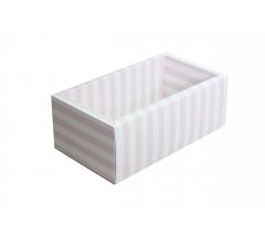 Коробка 320*180*110 мм с прозрачной крышкой, розовая полоска