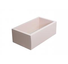 Коробка 310*180*80 мм с прозрачной крышкой, розовое дно