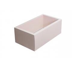 Коробка 320*180*110 мм с прозрачной крышкой, розовое дно