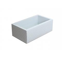 Коробка 310*180*80 мм с прозрачной крышкой, голубая полоска