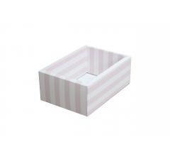 Коробка 200*140*80 мм с прозрачной крышкой, розовая полоска