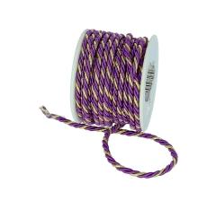 Шнур канатный 3 мм/ 10 м, фиолетово-золотой