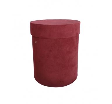 Коробка бархатная, d-150, h-180, бордо
