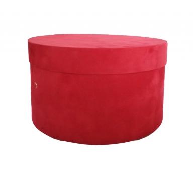 Коробка бархатная, d-200, h-110, красная