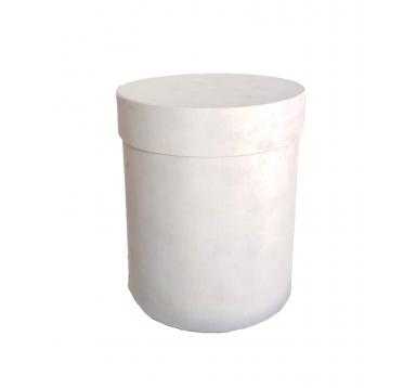 Коробка бархатная, d-150, h-180, светло-серая