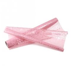 Пленка прозрачная с рисунком 50 см/ 10 м, розовые узоры