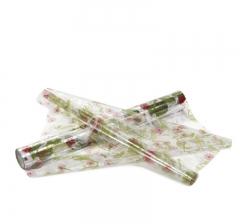 Пленка прозрачная с рисунком 50 см/ 10 м, розовые цветы с птицами