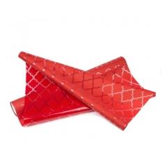 Пленка прозрачная с рисунком 50 см/ 10 м, красные ромбы