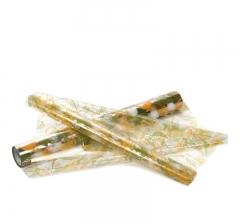 Пленка прозрачная с рисунком 50 см/ 10 м, желтые птицы и листья
