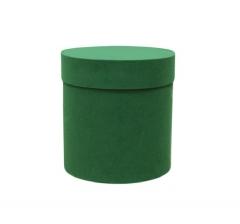 Коробка бархатная, d-110, h-120 мм, зеленая