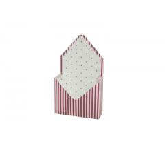 Коробка 170*140*60 мм, малиновая полоска с розовой горошкой