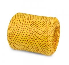 Рафия искусственная 200 м, желтая в красный горох