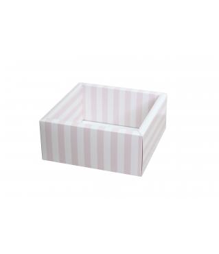 Коробка 175*175*50 мм с прозрачной крышкой, розовая полоска